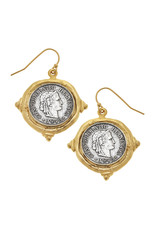Susan Shaw Mixed Metal French Coin Earrings