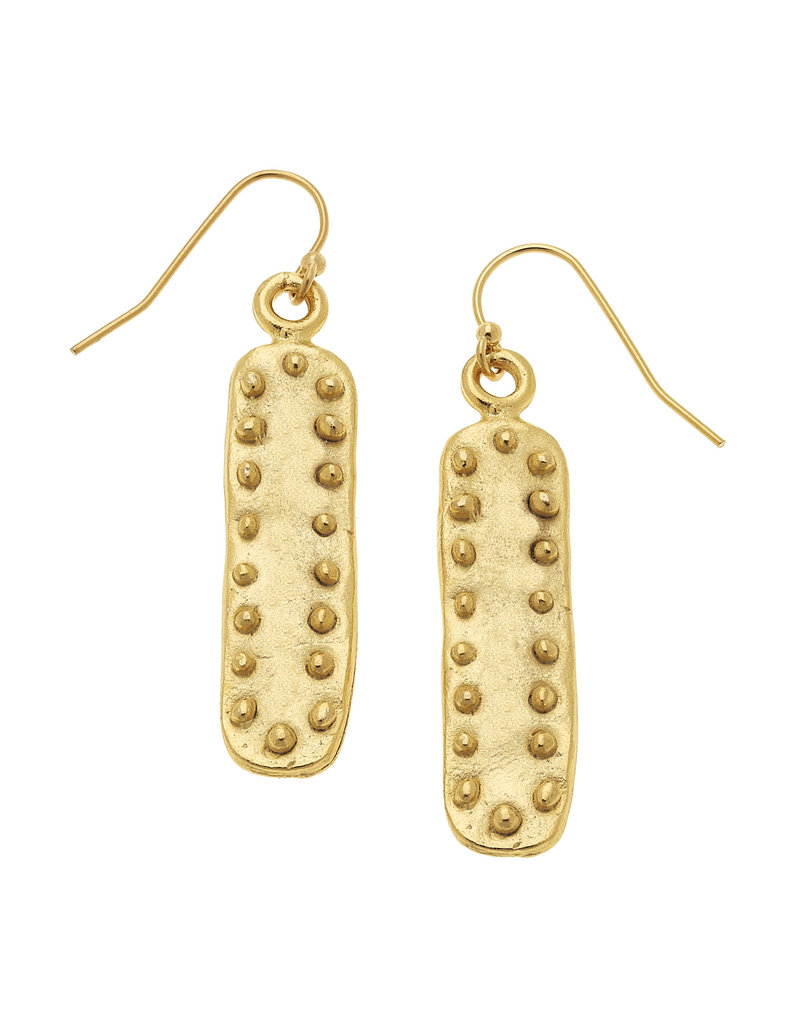 Susan Shaw Studed Gold Bar Earrings