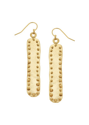 Susan Shaw Large Studed Gold Bar Earrings