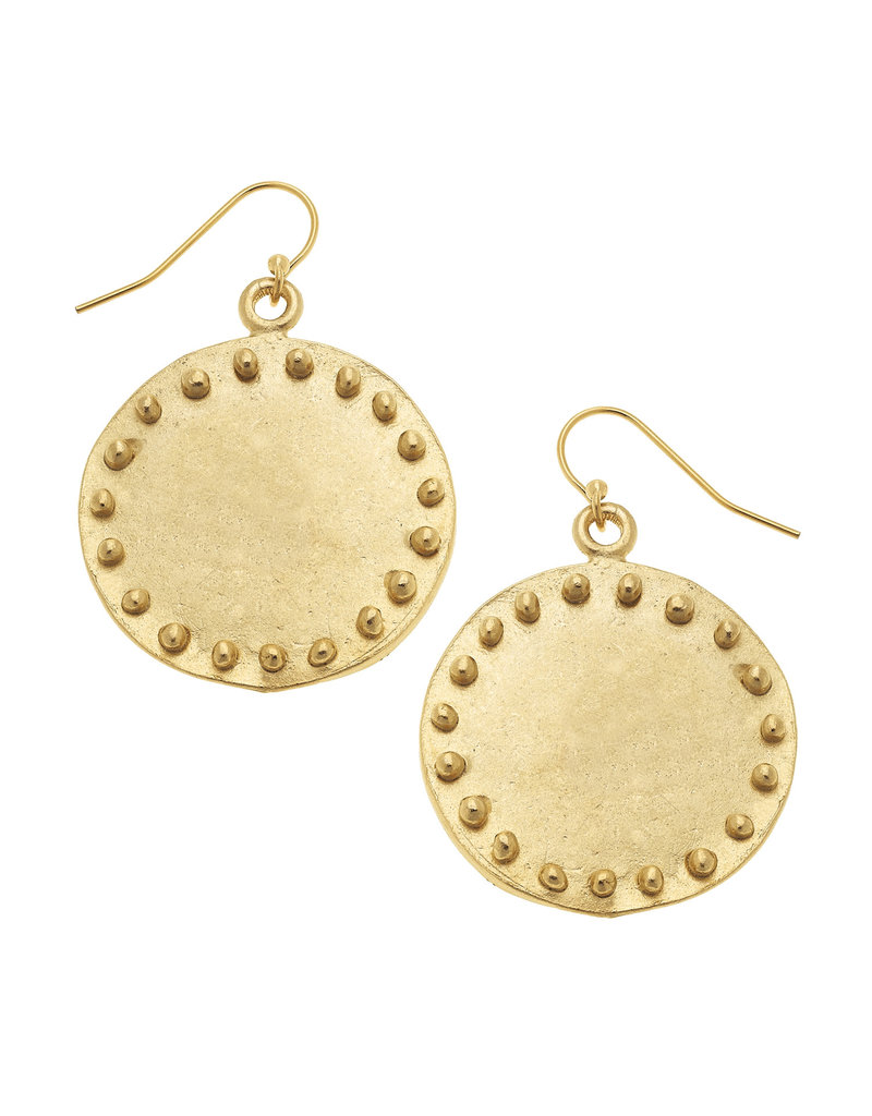 Susan Shaw Large Studed Gold Circle Earrings