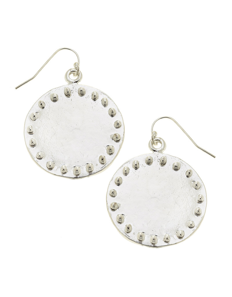 Susan Shaw Large Studed Silver Circle Earrings