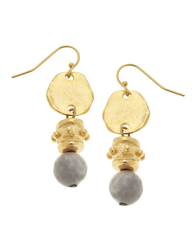 Susan Shaw Gold Silver Lace Agate Drop Earrings