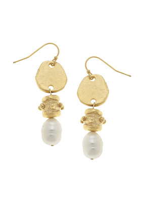 Susan Shaw Gold Freshwater Pearl Drop Earrings