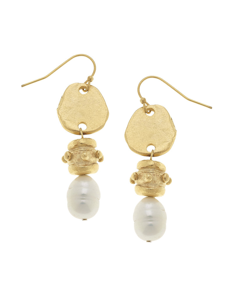 Susan Shaw Gold Freshwater Pearl Drop Earrings