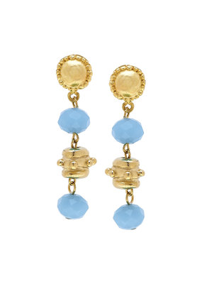 Susan Shaw Gold Milly Drop Aqua Crystal Earrings