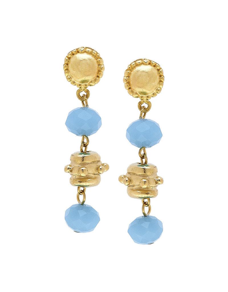 Susan Shaw Gold Milly Drop Aqua Crystal Earrings