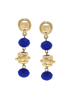 Susan Shaw Gold Milly Drop Blue Crystal Earrings