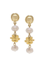 Susan Shaw Gold Milly Drop Ivory Crystal Earrings