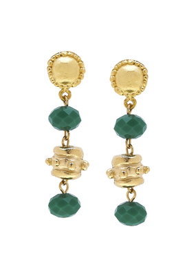 Susan Shaw Gold Milly Drop Green Crystal Earrings