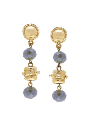 Susan Shaw Gold Milly Drop Labradorite Crystal Earrings