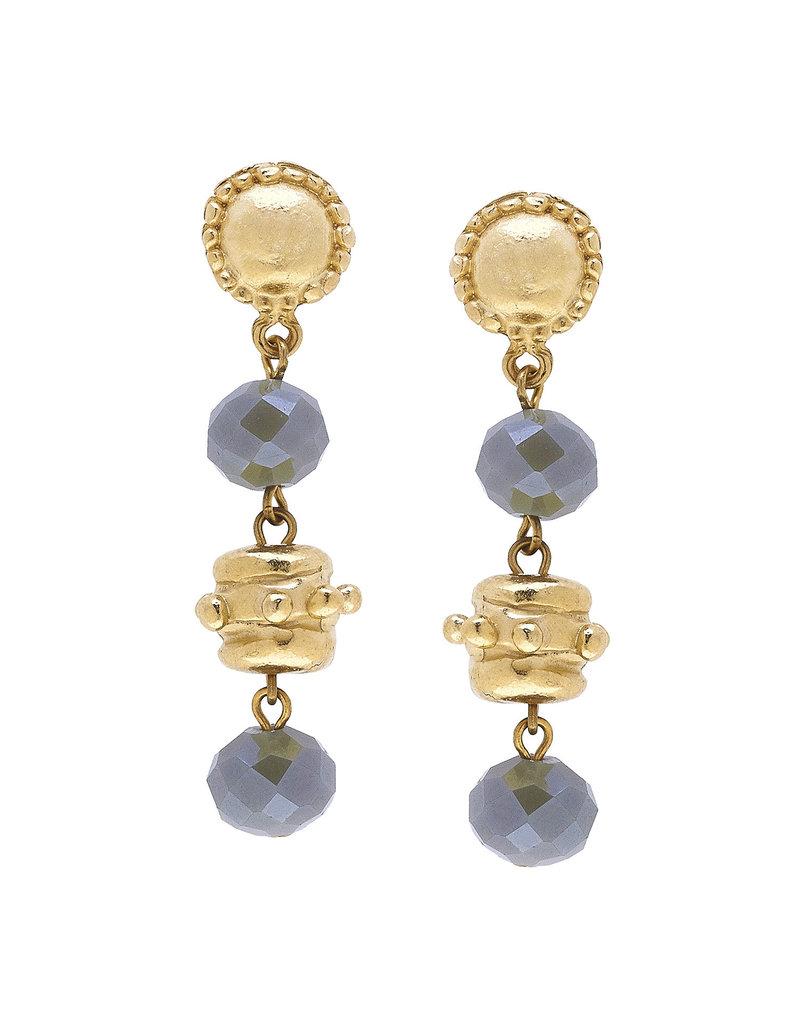 Susan Shaw Gold Milly Drop Labradorite Crystal Earrings
