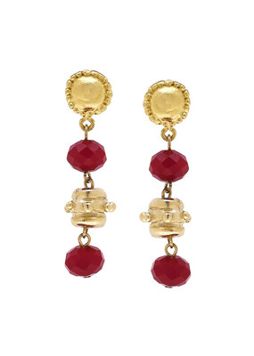 Susan Shaw Gold Milly Drop Red Crystal Earrings