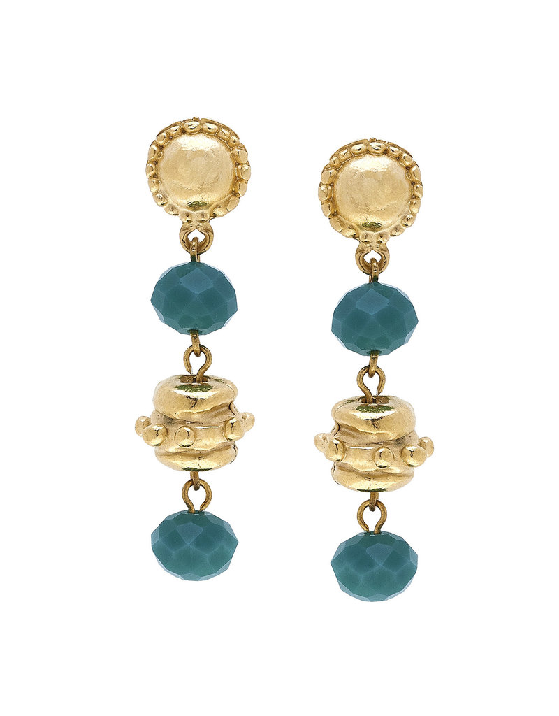 Susan Shaw Gold Milly Drop Teal Crystal Earrings