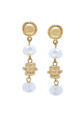 Susan Shaw Gold Milly Drop White Crystal Earrings