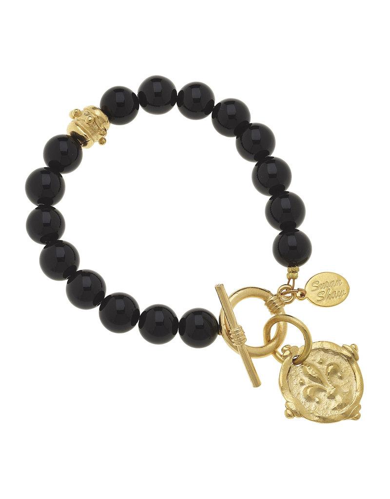 Susan Shaw Black Onyx Fleur-De-Lis Stone Bracelet