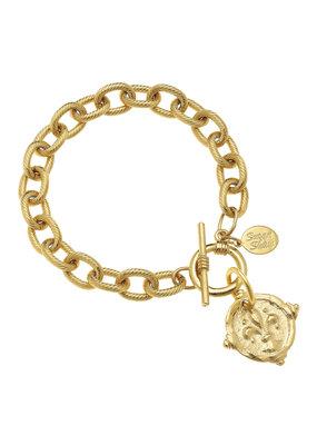 Susan Shaw Gold Fleur-De-Lis Intaglio Bracelet