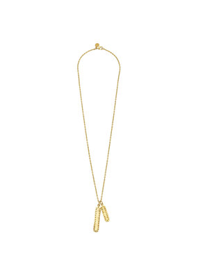 Susan Shaw Long Gold Studded Double Bar Necklace