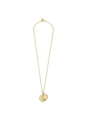 Susan Shaw Long Gold Studded Double Circle Necklace