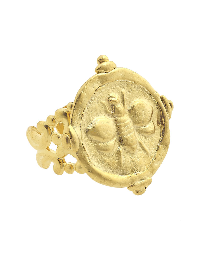 Susan Shaw Gold Bee Intaglio Adjustable Ring