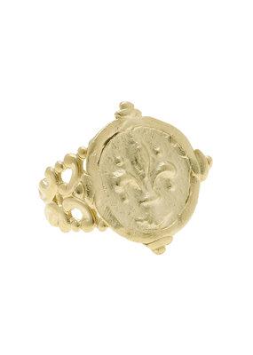 Susan Shaw Gold Intaglio Fleur-De-Lis Adjustable Ring