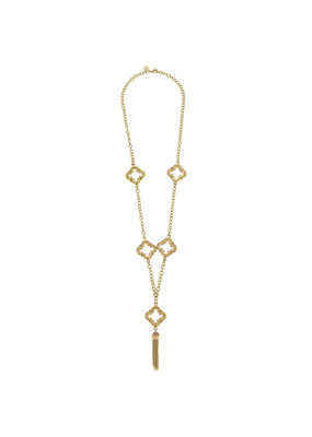 Susan Shaw Long Gold Clover Tassel Necklace