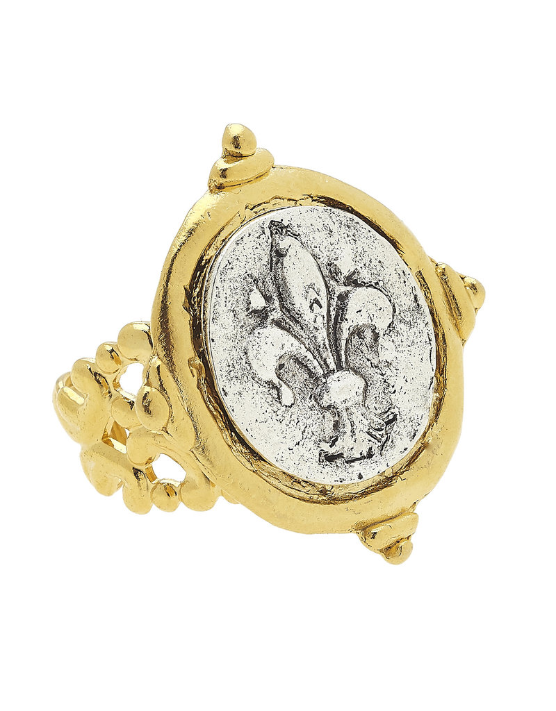 Susan Shaw Mixed Metal Intaglio Fleur-De-Lis Adjustable Ring