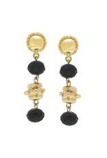 Susan Shaw Gold Milly Drop Black Crystal Earrings