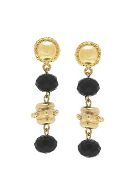 Susan Shaw Gold Milly Drop Black Crystal Earrings