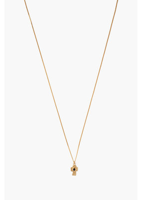 CHAN LUU Onyx Cross Pendant Necklace