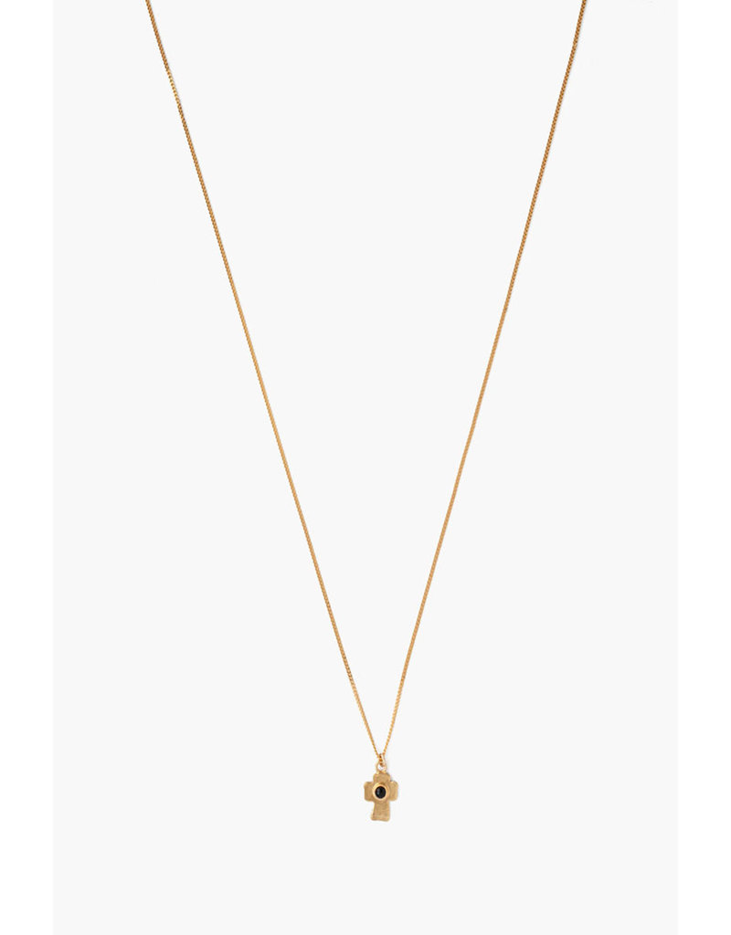CHAN LUU Onyx Cross Pendant Necklace