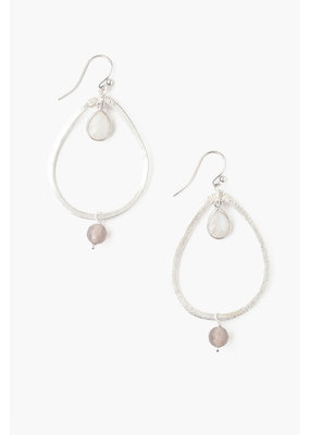 CHAN LUU Teardrop Grey Onyx Hoop Earrings