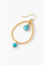 CHAN LUU Teardrop Turquoise Hoop Earrings