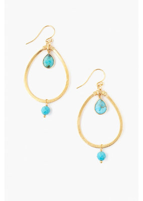 CHAN LUU Teardrop Turquoise Hoop Earrings