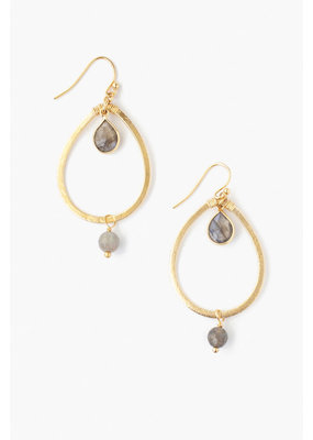 CHAN LUU Teardrop Labradorite Hoop Earrings