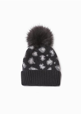 Look By M Black Cashmere Blended Leopard Pom Hat
