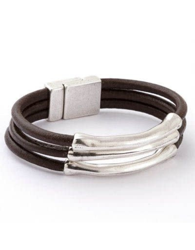 Trades Sally Brown Leather Magnetic Bracelet