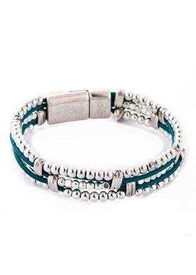 Trades Teal Multi Strand Leather Magnetic Bracelet