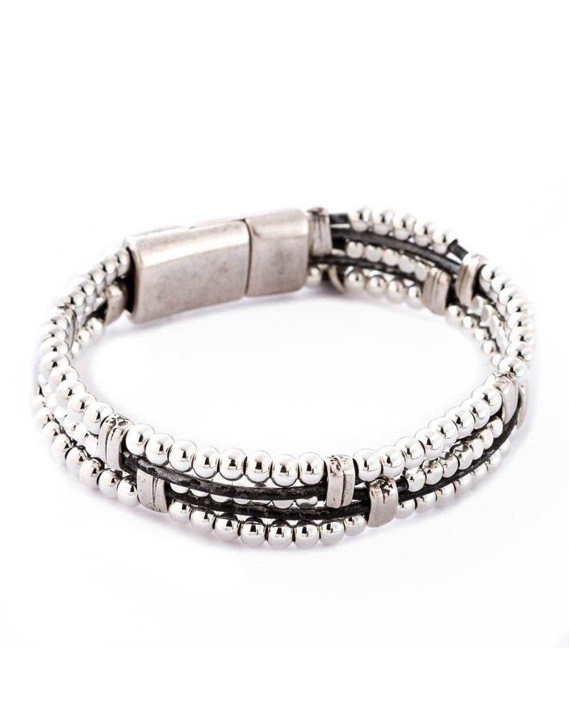 Trades Black Multi Strand Leather Magnetic Bracelet