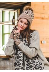 Look By M Black Cashmere Blended Leopard Pom Hat