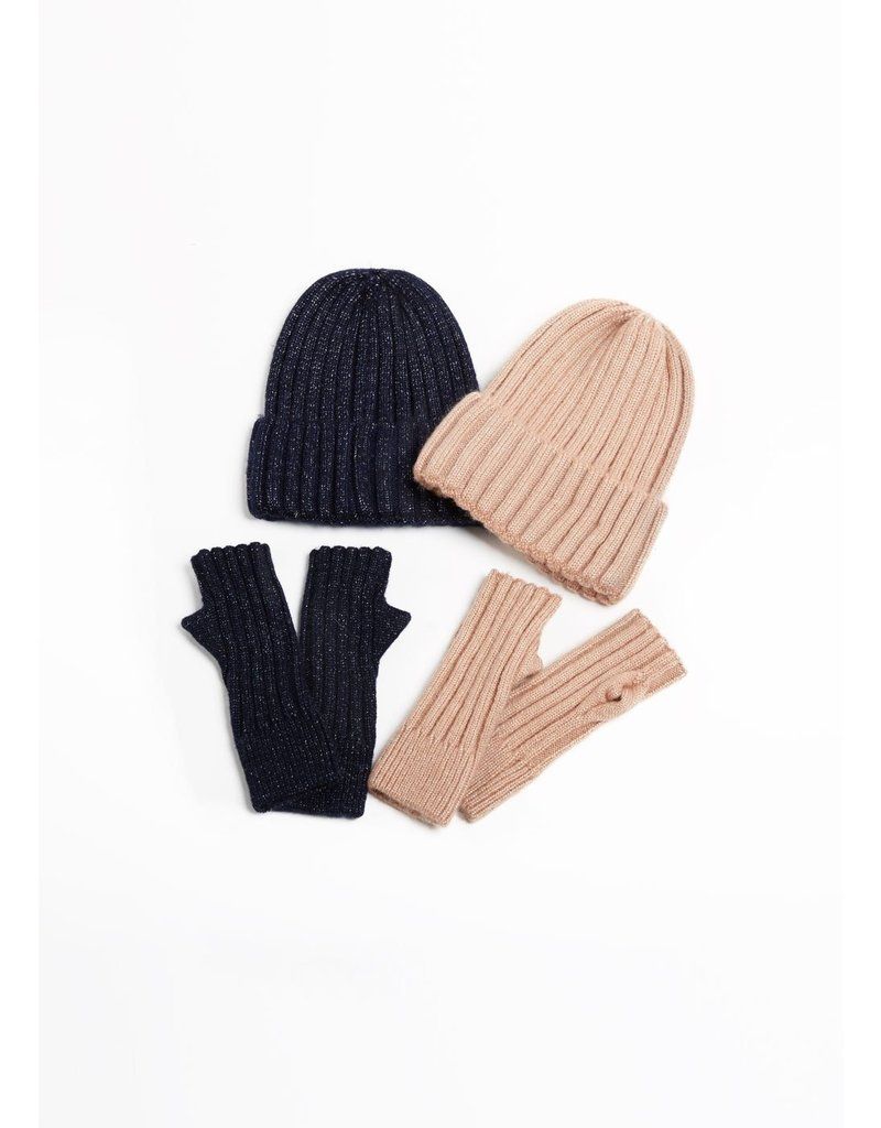Look By M Navy Sparkled Heather Cashmere Blended Beanie