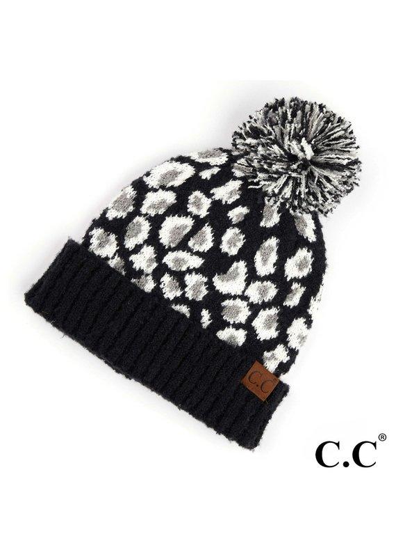 C.C. CC Black Leopard Pom Hat