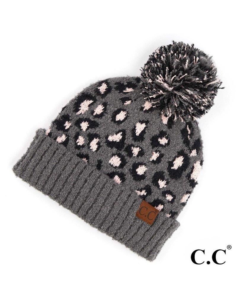 C.C. CC Lt. Melange Grey Leopard Pom Hat