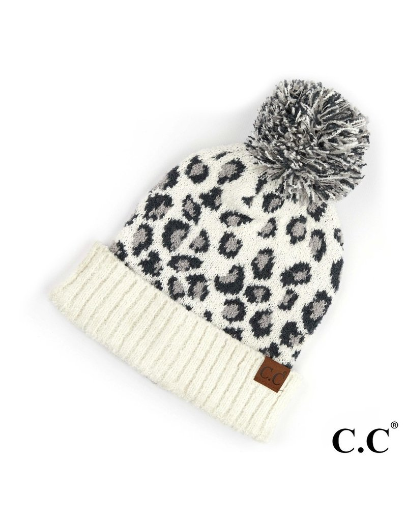 C.C. CC Ivory Leopard Pom Hat