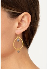 CHAN LUU Teardrop Labradorite Hoop Earrings