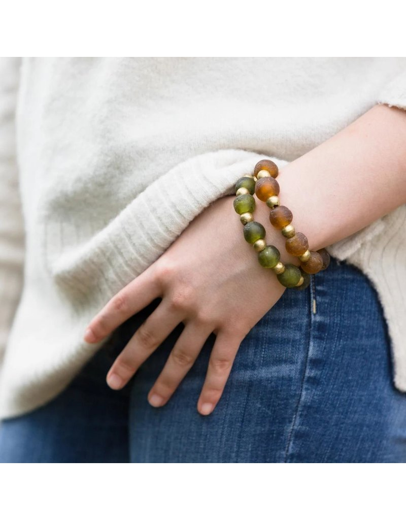 Ink + Alloy Taupe Recycled Glass and Brass Bead Stretch Bracelet