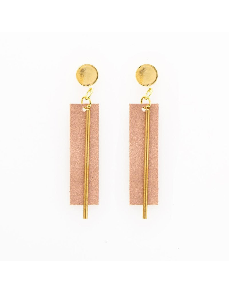 Ink + Alloy Rose Gold Leather Rectangle Earring