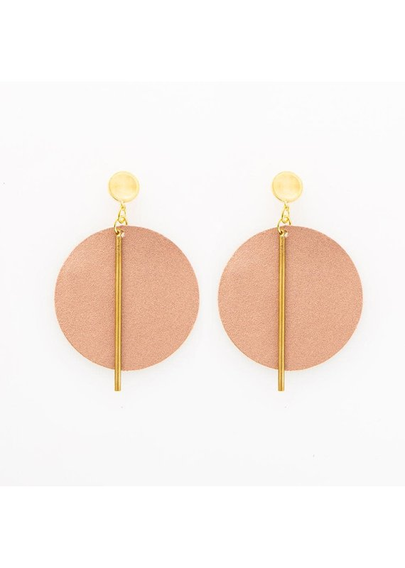 Ink + Alloy Rose Gold Leather Circle Earring