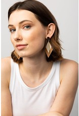 Ink + Alloy Rose Gold & Oyster Double Diamond Leather Earring