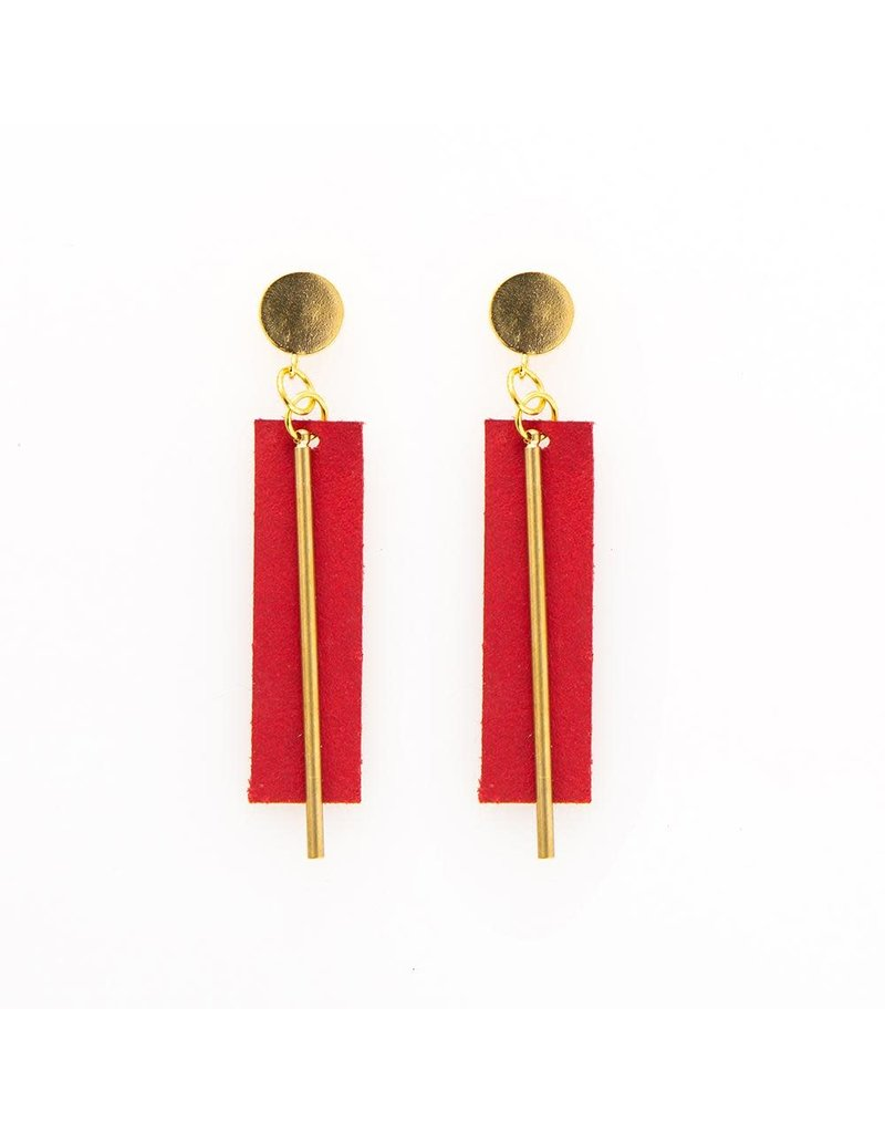 Ink + Alloy Red Leather Rectangle Earring