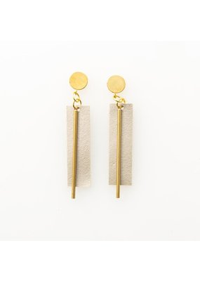Ink + Alloy Champagne Leather Rectangle Earring